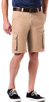 Haggar Canvas Cargo Short- Straight Fit, Flat Front, Expandable Waistband
