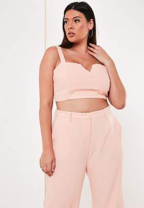 Missguided Plus Size Pink Co Ord V Neck Crop Top