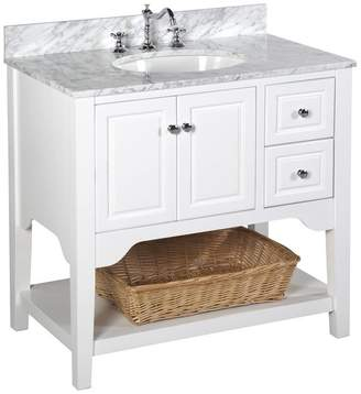 "Kitchen Bath Collection Washington Bath Vanity, Base: White, 36"", Top: Carrara Marble"