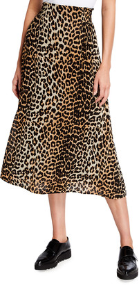 Ganni Leopard Printed Georgette Midi Full Skirt