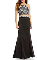 Sequin Hearts Scalloped Lace-Embroidered Two-Piece Dress
