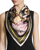Givenchy Ultra Paradise Square Silk Twill Scarf, Pink/Green