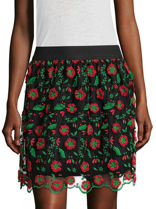 Anna Sui Poppy Trellis Embroidered Flared Skirt