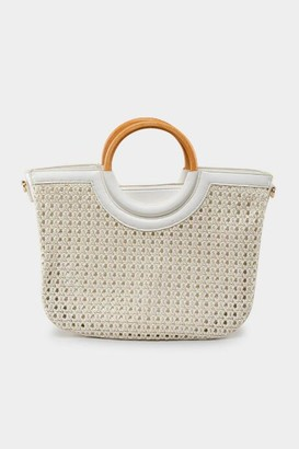 francesca's Ruby Woven Tote - White