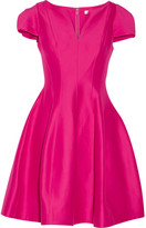 Halston Flared Cotton And Silk-blend Dress - Fuchsia