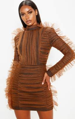 PrettyLittleThing Brown Bandage Chiffon Frill Bodycon Dress