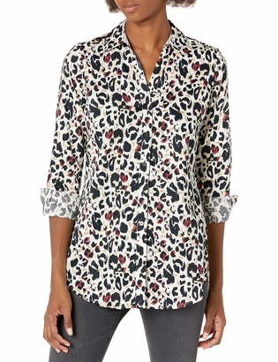 Foxcroft Women's Faith LS Non-Iron Animal Print Tunic