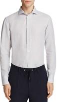Eleventy Linen Cotton Regular Fit Button-Down Shirt