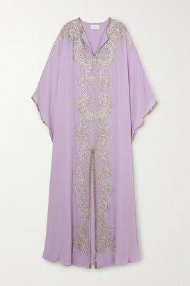 Marchesa Embellished Embroidered Silk Crepe De Chine Gown - Lilac