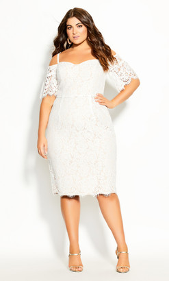 City Chic Lace Whisper Dress - ivory