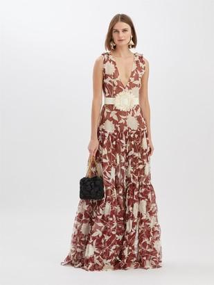 Oscar de la Renta Embroidered Silk Leno Maxi Dress
