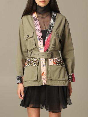 Pinko Geppetto Coat In Cotton With Japanese Print Profiles