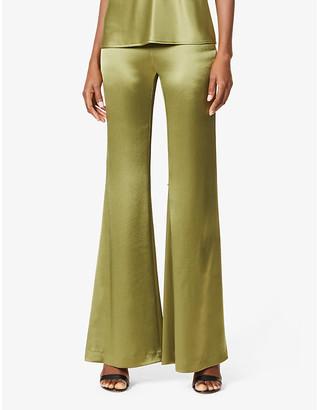 Galvan Wide-leg high-rise crepe-satin trousers