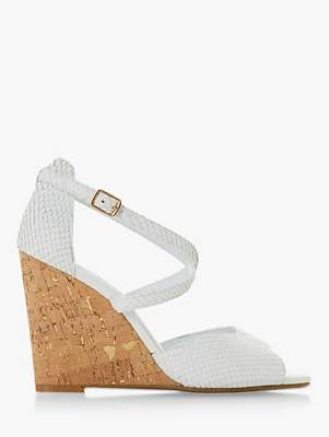 Dune Majave Wedge Heel Sandals, White Leather