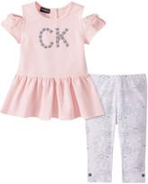 Calvin Klein Jeans Girls' Casual Pants 2022 - Pink 'CK' Crewneck Shoulder-Cutout Tunic & Gray Floral Leggings - Infant, Toddler & Girls