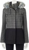 Juniors' Pink Envelope Faux-Fur Checked Wool Jacket