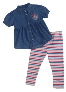 GUESS Girls Short Sleeve Chambray Shirt & Printed Legging Set