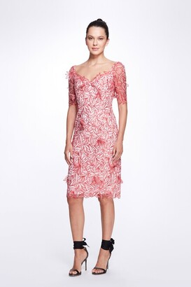 Marchesa Notte Short Sleeve Envelop Neck Embroidered Organza Cocktail Dress