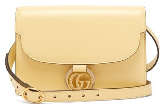Gucci Gg-ring Leather Shoulder Bag - Womens - Light Yellow