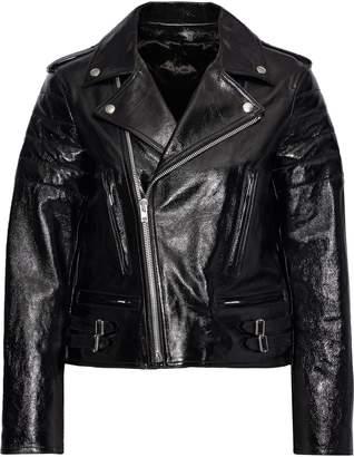 Helmut Lang Cropped Glossed Textured-leather Biker Jacket