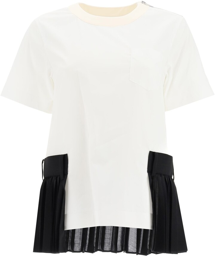 Thumbnail for your product : Sacai TOP WITH PLEATED INSERTS 1 White, Black, Beige Cotton