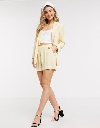 Miss Selfridge linen shorts in lemon co-ord