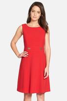 Tahari Bar Detail Sleeveless Fit & Flare Dress (Petite)