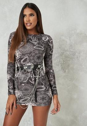 Missguided Black Galaxy Print Crew Neck Mini Dress