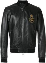 Dolce & Gabbana insignia leather bomber jacket - men - Silk/Calf Leather/Lamb Skin/glass - 48