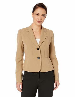 Kasper Women's Petite 2 Button Peak Lapel Stretch Crepe Jacket