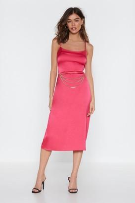 Nasty Gal Womens All the Feels Satin Midi Dress - Hot Pink