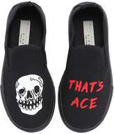 Stella McCartney Skull Cotton Canvas Slip-On Sneakers