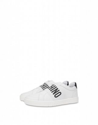 Moschino Calfskin Slip On Sneakers With Logo Man White Size 39 It - (6 Us)