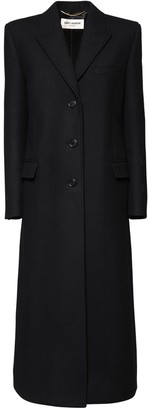 Saint Laurent Wool Twill Long Coat