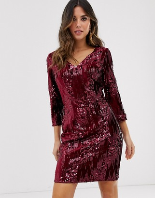 Little Mistress long sleeve velvet sequin embellished bodycon dress