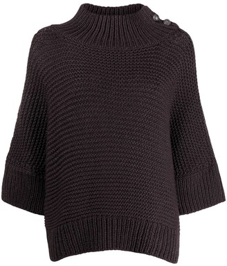 Fabiana Filippi Mock-Neck Button Shoulder Sweater