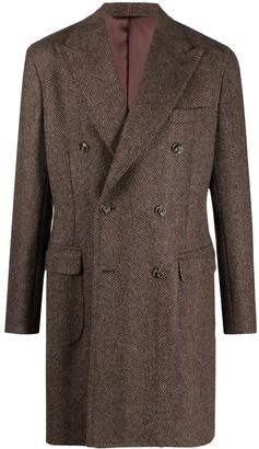 Barba Herringbone-Tweed Wool Coat