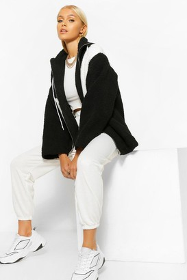 boohoo Asymmetric Colour Block Zip Through Teddy Jacket