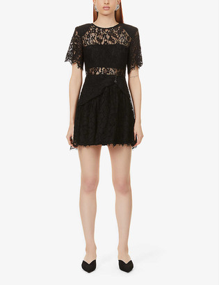 Self-Portrait Padded-shoulder floral-pattern lace mini dress