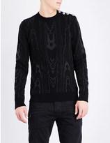 Balmain Metallic-thread cotton-blend knitted jumper