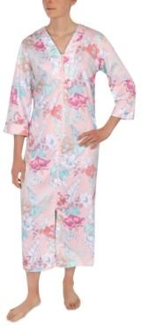 Miss Elaine Floral-Print Zipper Front Robe