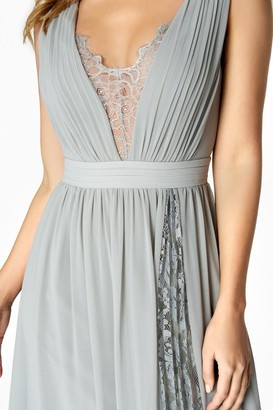 Little Mistress Holly Plunge Lace Insert Maxi Dress