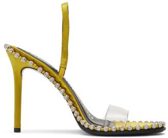 Alexander Wang Yellow Satin Nova Crystal Sandals
