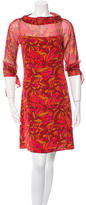 Diane von Furstenberg Three-Quarter Sleeve Floral Dress