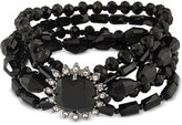 Carolee Hematite-Tone Jet Stone and Beaded Multi-Layer Bracelet