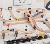 Pottery Barn Kids Wood Play City Train Track Set - Cars, Airplane, Air Strip