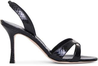 Manolo Blahnik Callasli black watersnake sandals
