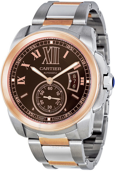 Cartier Calibre De Chocolate Brown Dial Men's Watch