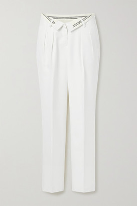 Alexander Wang Fold-over Jacquard-trimmed Woven Straight-leg Pants - Off-white