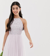 Maya Petite Bridesmaid halter neck mini tulle dress with tonal delicate sequins in soft lilac